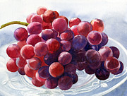 Grapes Posters - Red Grapes on a Plate Poster by Sharon Freeman