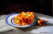 Italian Meal Painting Posters - Red Grapes on Chinese Dsh Poster by Jan  Brieger-Scranton