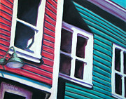 Houses Pastels Posters - Red Green House Poster by Michael Foltz