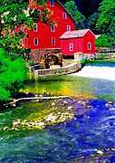 Red Grist Mill Print by Annie Zeno