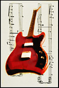 Jet Star Digital Art Metal Prints - Red Guitar Metal Print by Bill Cannon