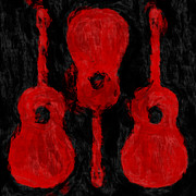 Strings Digital Art Posters - Red Guitars Poster by David G Paul