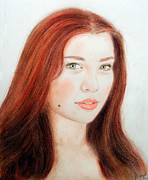 Beauty Mark Mixed Media - Red Hair and Blue Eyed Beauty with a Beauty Mark by Jim Fitzpatrick
