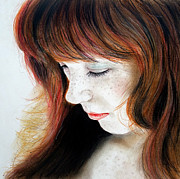 Hot Artist Drawings - Red Hair and Freckled Beauty II by Jim Fitzpatrick