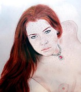 Asian Artist Drawings - Red Hair and Freckled Beauty Remake Nude by Jim Fitzpatrick