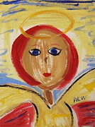 Angel Drawings - Red haired Angel by Mary Carol Williams
