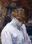 Villa Paintings - Red-haired woman in white camisole by Henri de Toulouse Lautrec