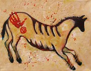 Primitive Art Prints - Red Hand Primitive Horse Print by Carol Suzanne Niebuhr