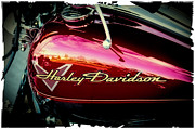 Cruiser Posters - Red Harley-Davidson Poster by David Patterson