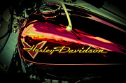 Cruiser Posters - Red Harley-Davidson II Poster by David Patterson