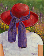 Just Painting Originals - Red Hat Garden by Margaret Bobb