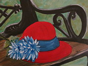 Livingstone Posters - Red-Hat On The bench Poster by Beverly Livingstone