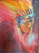 Native American Watercolor Paintings - Red Hawk by Robert Hooper