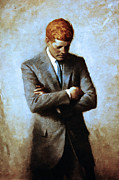 Heads Digital Art Prints - Red Head In The White House - John Fitzgerald Kennedy JFK 20130610 Print by Wingsdomain Art and Photography