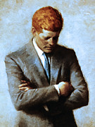 Heads Digital Art Prints - Red Head In The White House - John Fitzgerald Kennedy JFK 20130610v2 Print by Wingsdomain Art and Photography