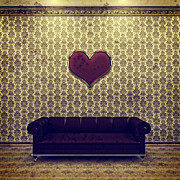 Purple Couch Posters - Red Heart and Purple Couch in a Gold Victorian Room Poster by Beverly Claire Kaiya