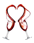 Red Wine Splashing In Wineglass Framed Prints - Red Heart Love Framed Print by JC Kirk