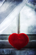 Sheers Posters - Red heart on windowsill Poster by Marlene Ford