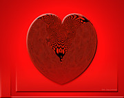 Virtual Images Prints - Red Heart with Mesh Print by Rosario Gomez