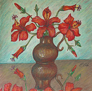 Gift Pastels Originals - Red Hibiscus with Blue Background by Claudia Cox