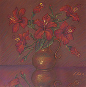 Reflective Pastels - Red Hibiscus with Purple Background by Claudia Cox