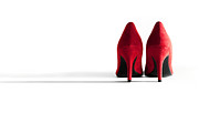 High Heeled Posters - Red High Heel Shoes Poster by Natalie Kinnear