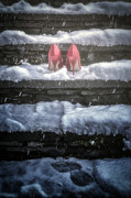 Snow Covered Prints - Red High Heels Print by Joana Kruse