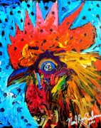 Sonoma County Painting Prints - Red Hill Rooster Was Painted During Live Music Print by Neal Barbosa