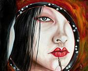 Red Eye Metal Prints - Red Metal Print by Hiroko Sakai