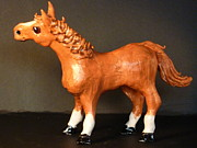 Glass Ceramics - Red Horse by Debbie Limoli
