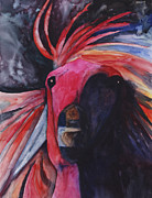 Looking At Camera Paintings - Red Horse by Kerrie  Hubbard