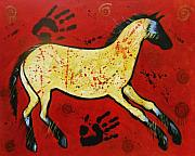 Cave Paintings - Red Horse Modern Cave Painting by Carol Suzanne Niebuhr