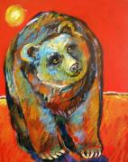 Grizzly Bear Posters - Red Hot Bear Poster by Carol Suzanne Niebuhr