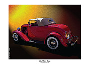Police Art Prints - Red Hot Rod Print by Kenneth De Tore