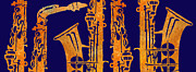 Saxophones Posters - Red Hot Sax Keys Poster by Jenny Armitage