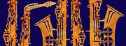 Red Hot Sax Keys Print by Jenny Armitage