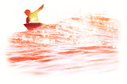 Surf Silhouette Prints - Red Hot Surfer Print by Paul Topp