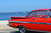 York Beach Posters - Red Impala on the Beach Poster by Adspice Studios
