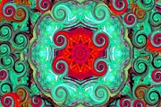 Turquoise And Red Posters - RED IN THE CENTER 24 by 36 inches Poster by Suzeee Creates