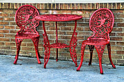 Table And Chairs Framed Prints - Red Framed Print by Kenny Francis