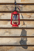 Oil Lamp Photos - Red Kerosene Lantern by Bryan Mullennix Photography