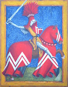 Medieval Paintings - Red Knight by Nancy Garbarini