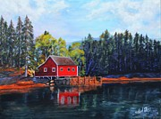 Area Paintings - Red Lake Cabin by Shirl Theis