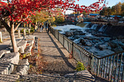 Shelburne Falls Prints - Red Leaves and Shelburne Falls Massachusetts Print by Robert Ford