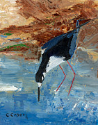 Pallet Knife Originals - Red Legged Stilt by Christine Crowell