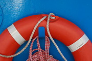 Red Life Belt On Blue Wall Print by Intensivelight