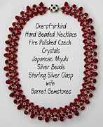 Sterling Silver Art - Red Light-Cranberry Beaded Necklace by Jennie Breeze