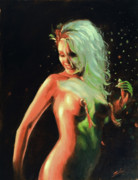 Burlesque Painting Metal Prints - Red light Green light Metal Print by John Silver