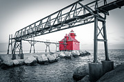 Catwalk Prints - Red Light On Lake Michigan Print by Shutter Happens Photography