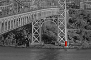 N.y. Posters - Red Lighthouse And Great Gray Bridge BW Poster by Susan Candelario